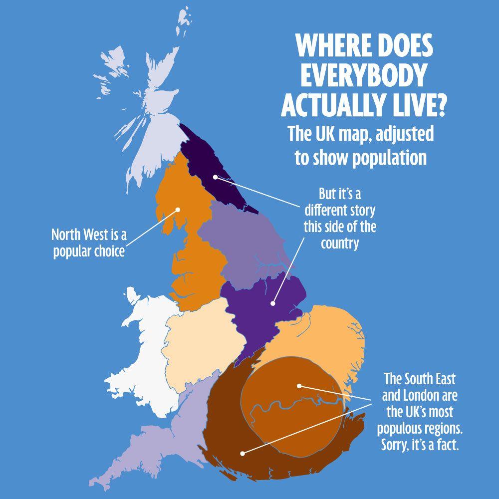 Whats the skinniest part of britain the uk in five weird maps o vivent les britanniques la reprsentation est dforme pour reprsenter les diffrences cette carte fait partie dune srie de 5 mirror online gumiabroncs Gallery