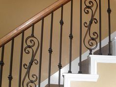 How To Replace Wood Stair Spindles Or Balusters With Wrought Iron |  Banisters, Stair Spindles And Wood Stairs