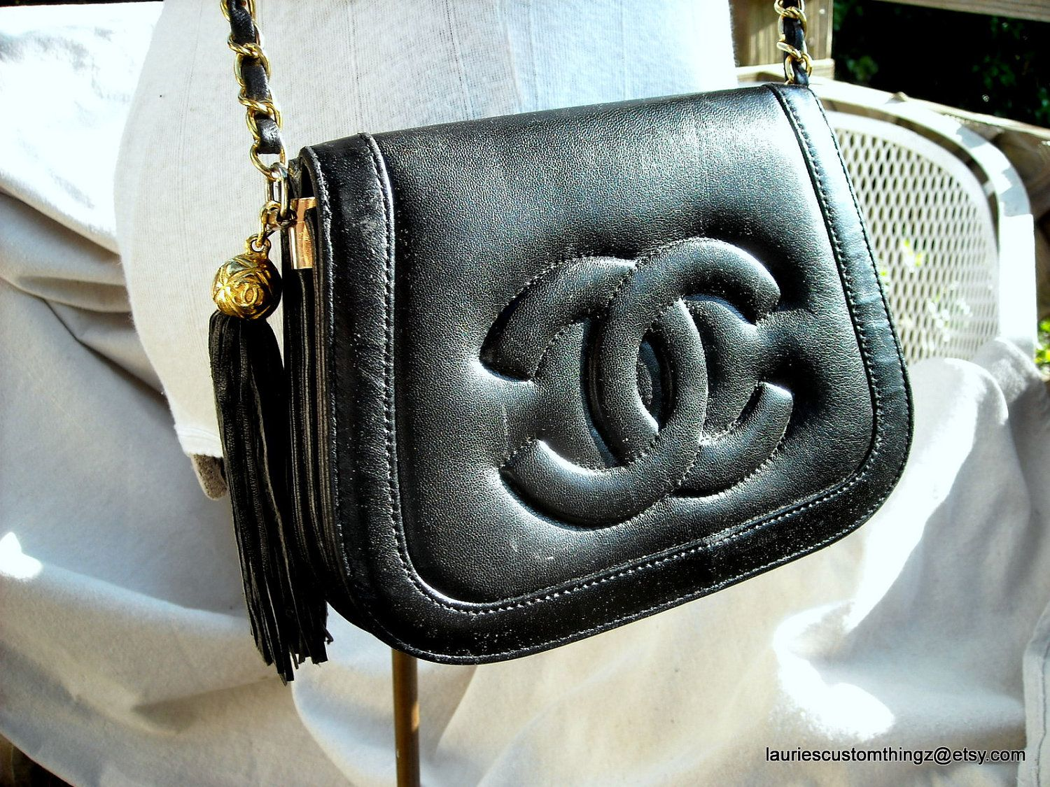 aea658a19494 Vintage Chanel flap bag with tassel.  chanel  vintage  timeless  flapbag  cc