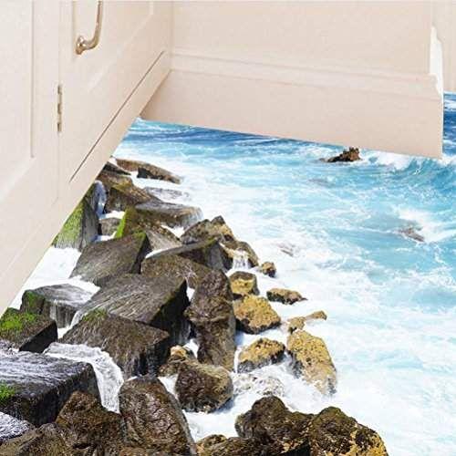 Bibitime 3d Vivid Blue Sea Beach Sol Stickers Autocollant plinthes