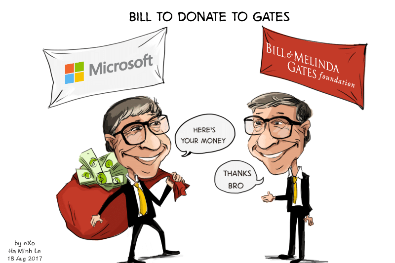 Gates To Donate Five Percent Of His Fortune To His Own Charity Exo Charity Cartoon Fortune