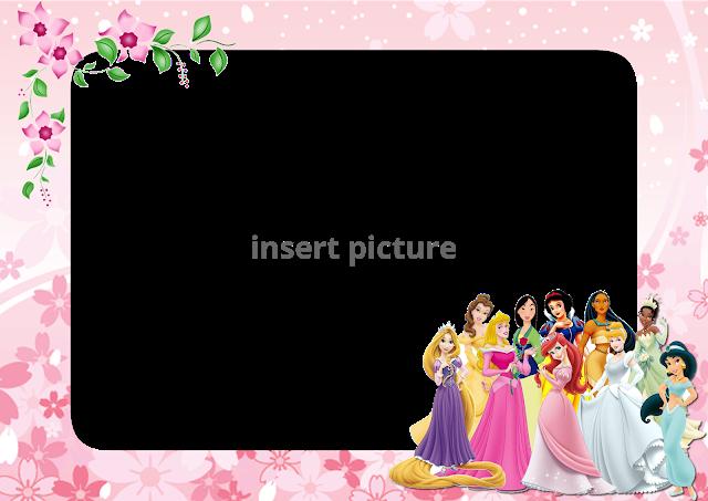 Disney Princess Floral Png Frame Printable Png Frames Cartoon Character Png Photo Frames Princess Photo Frames Frame Princess Frame
