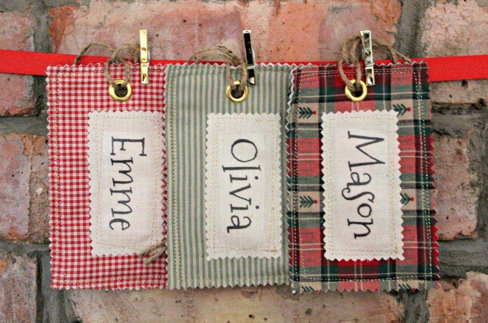 image 0   Christmas name tags, Fabric names, Santa sack