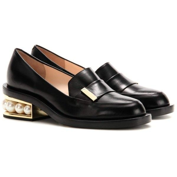 Nicholas Kirkwood Casati Embellished Leather Loafers (24515 TWD) ❤ liked on Polyvore featuring shoes, loafers, black, leather shoes, genuine leather shoes, nicholas kirkwood, nicholas kirkwood shoes and leather footwear