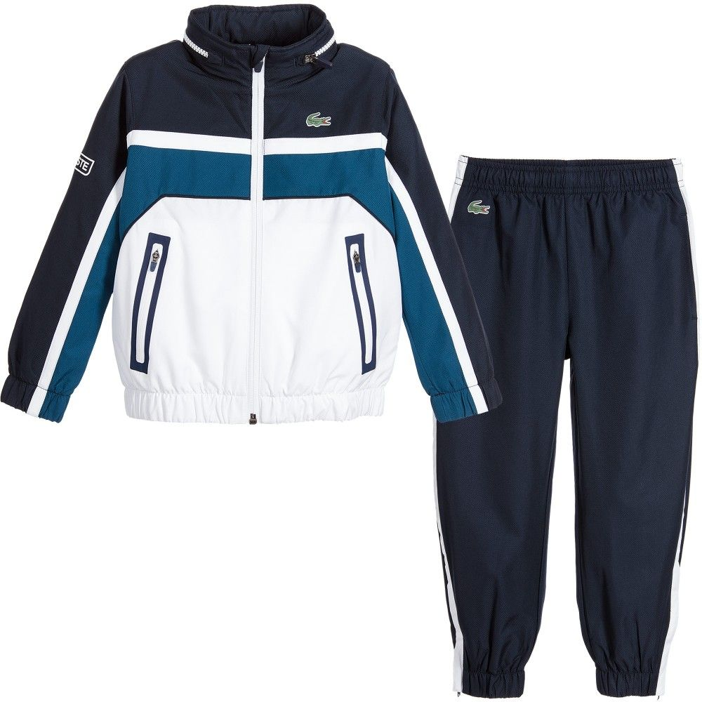 acfeb530c832d1 Lacoste Boys Navy Blue   White Tracksuit