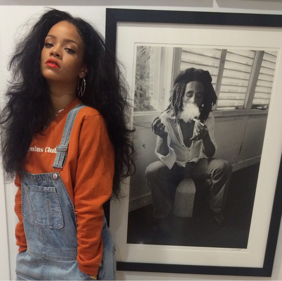 Rihanna bob marley art fashion style kinky yaky natural hair inspir