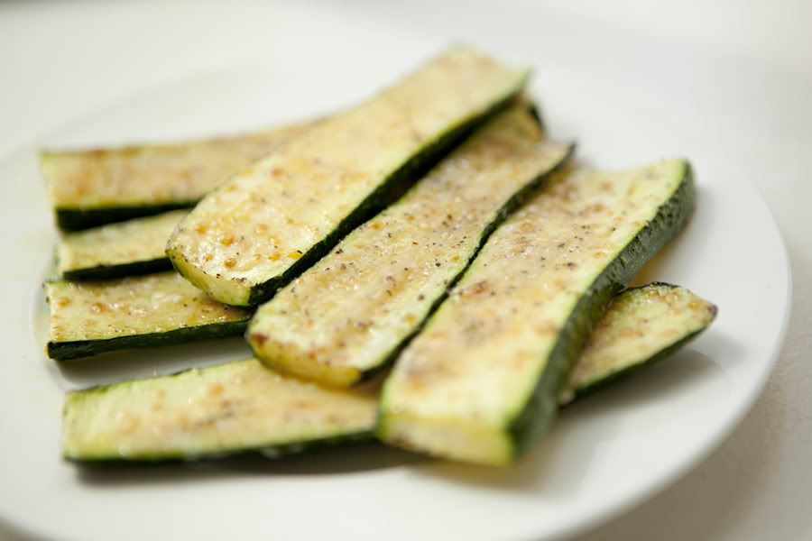 Broiled baby zucchini with parmesan.