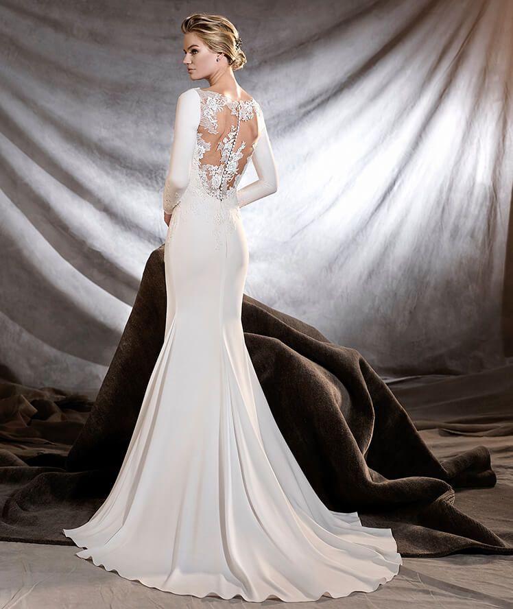 orquidea - vestido de novia de escote barco