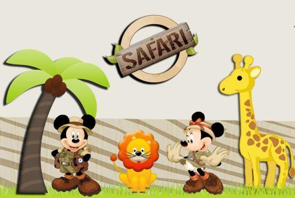 Espaço Infantil Moldes para Festa Infantil Mickey e Minnie Safari Grátis - Espaço Infantil