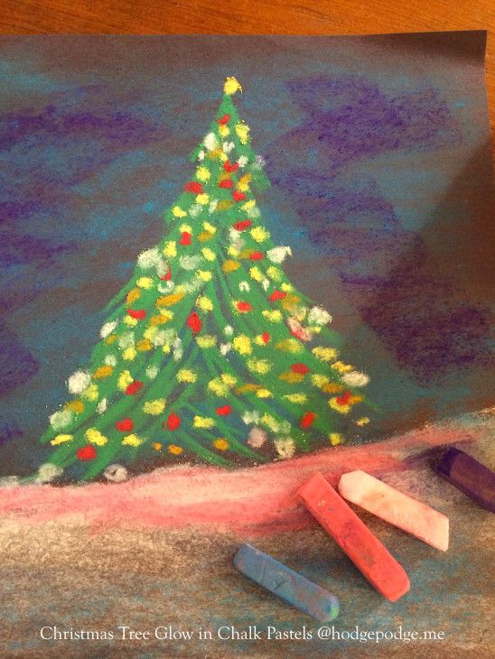 Glowing Christmas Tree Chalk Art Tutorial Hodgepodge Christmas Art Projects Christmas Tree Art Christmas Art