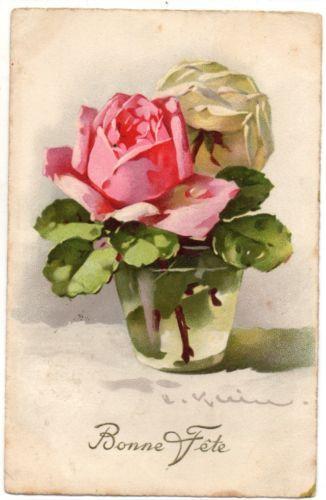 Ce131 A S Klein Roses In A Glass Roses Dans Un Verre Jounok Pinturas De Flores Aquarela Rosa Flores Pintadas
