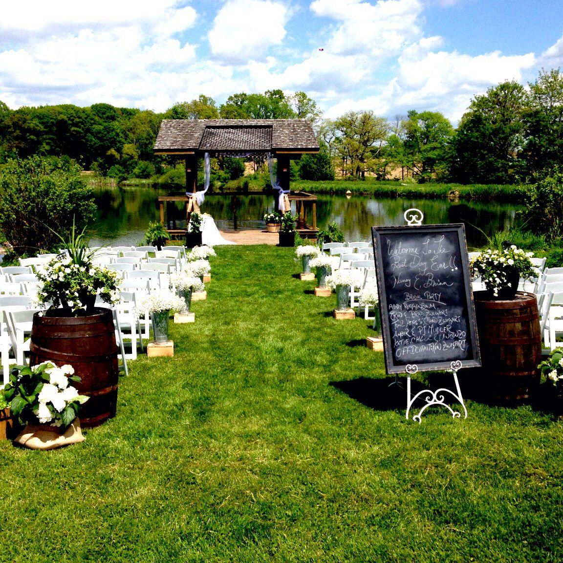 Outdoor Wedding Ceremony Doors: Beautiful Outdoor Wedding Ceremony On Pond. #rusticwedding