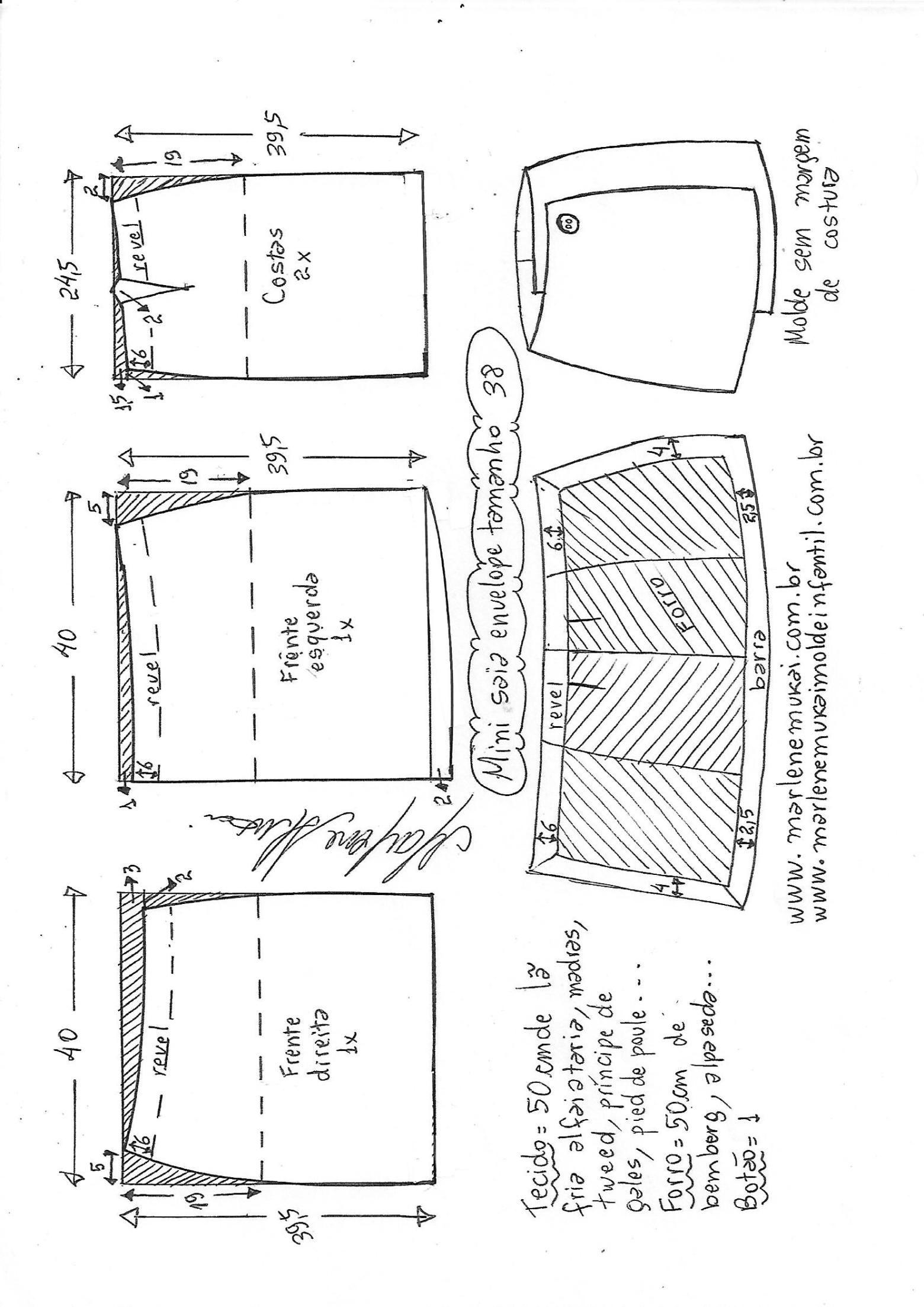 Mini saia envelope | patterns | Pinterest | Costura, Patrones de ...