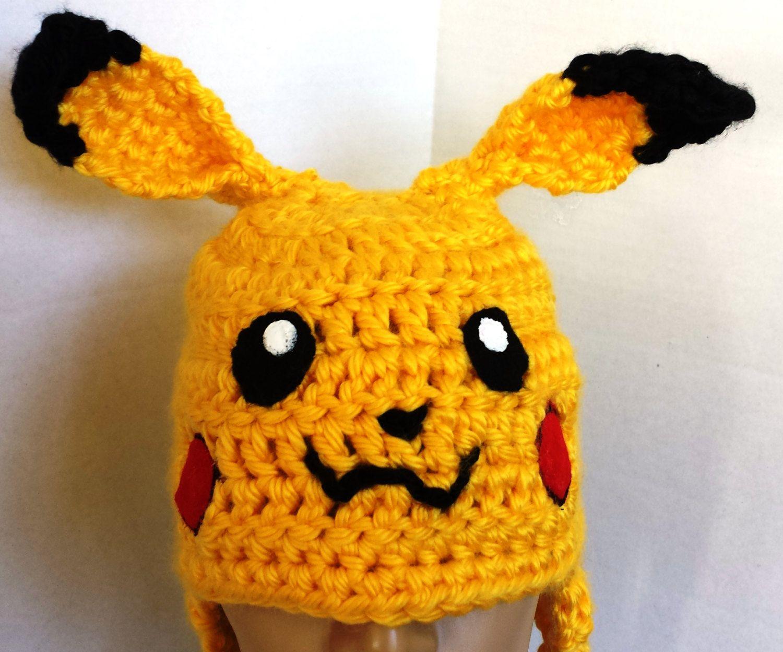 Pokemon Hat, Pikachu, Crocheted Hat,Gifts for her,Crochet Baby Hat ...