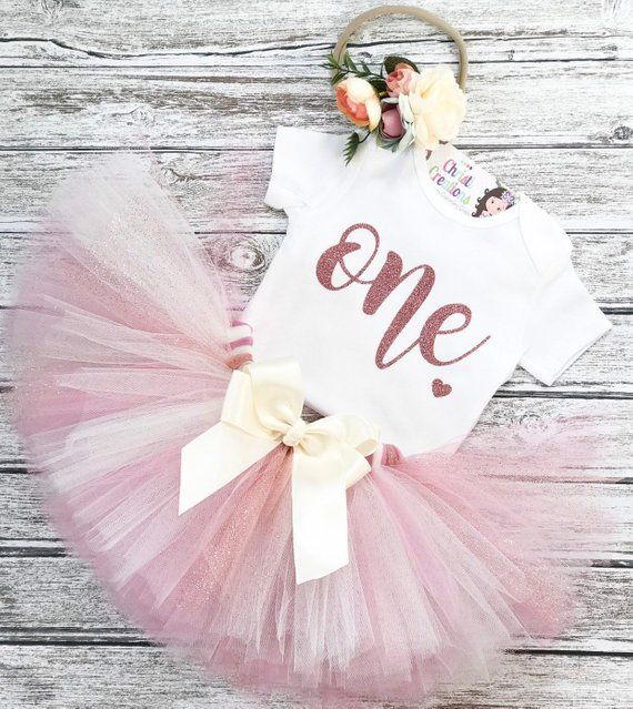 Floral 1st Birthday Outfit, Rose Gold Tutu, Trendy First Birthday Outfit Girl