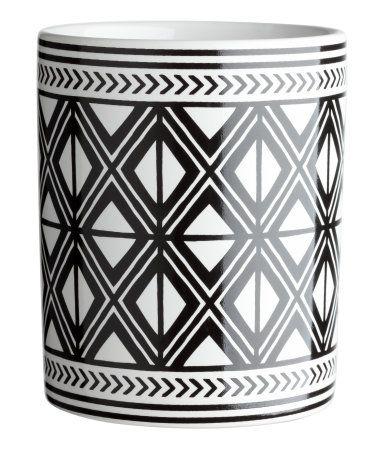 Zahnputzbecher aus Steingut | Weiß/Schwarz gemustert | Home | H&M DE