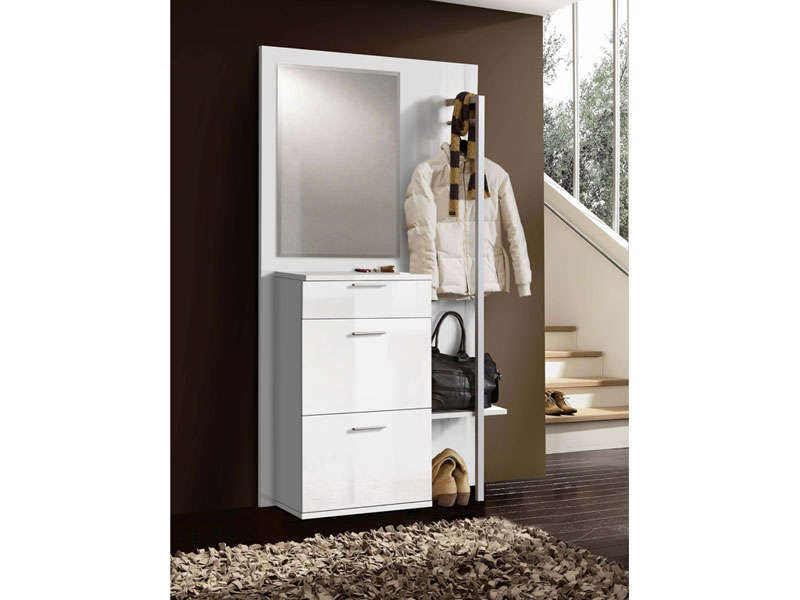 entree vestiaire coloris blanc vente de accessoires de rangement conforama meubles. Black Bedroom Furniture Sets. Home Design Ideas