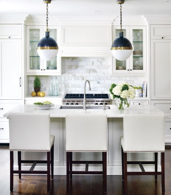 White Kitchen With Cobalt Blue Pendant Lights Home