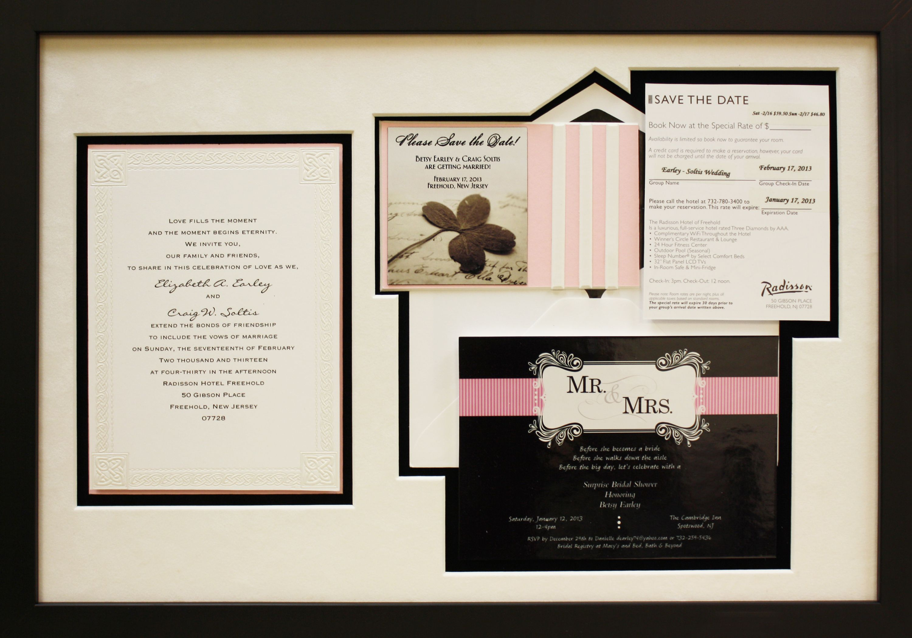 Wedding Invitation Frames: Wedding Invitation Framed With A Custom Mat Board To