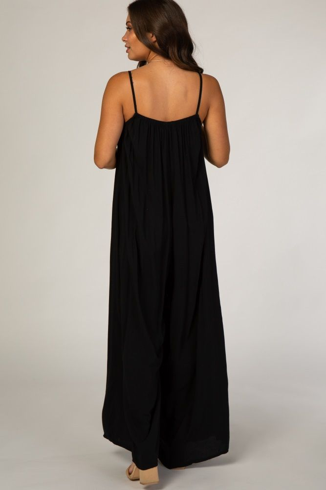 Black Maternity Jumpsuit With Necklace
