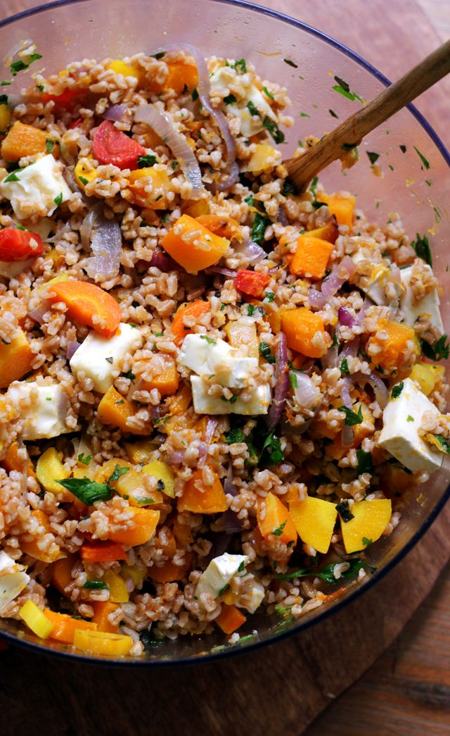 Farro Salad with Butternut Squash, Red Onions, and Brie | Joanne Eats Well With Others