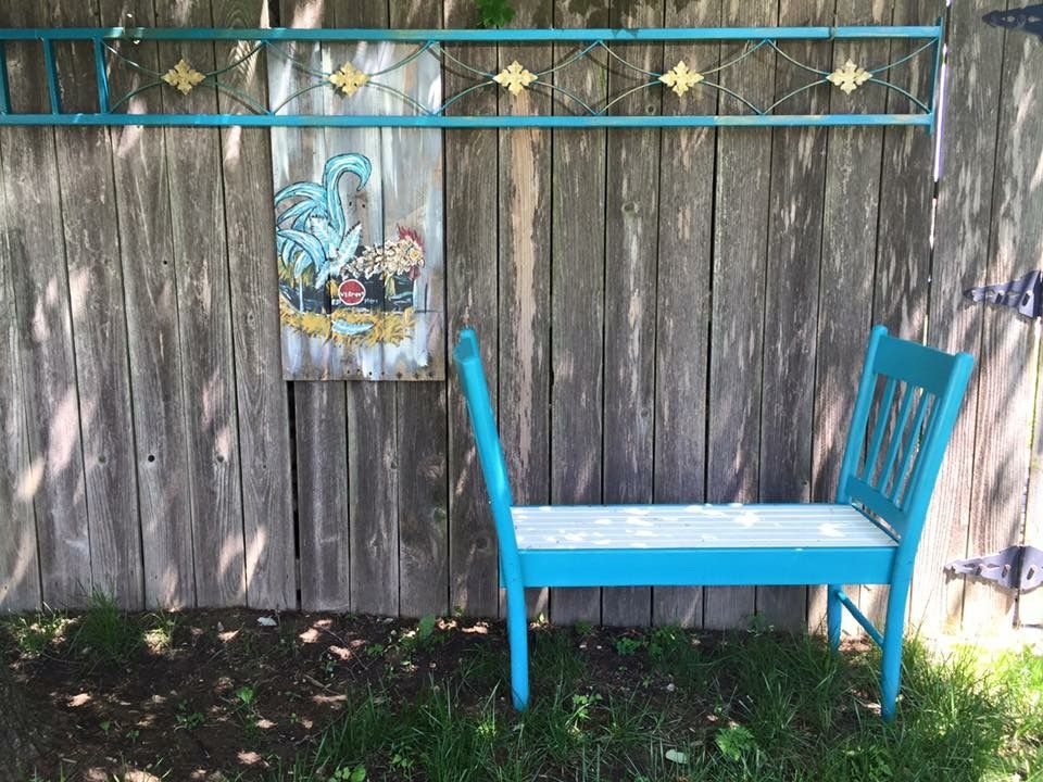 Hand Painted Pallet Wood Rooster. Handmade Chair Bench. Our Chair Bench Is Made  Out