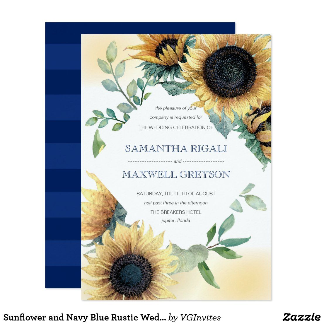 Sunflower and Navy Blue Rustic Wedding Invite