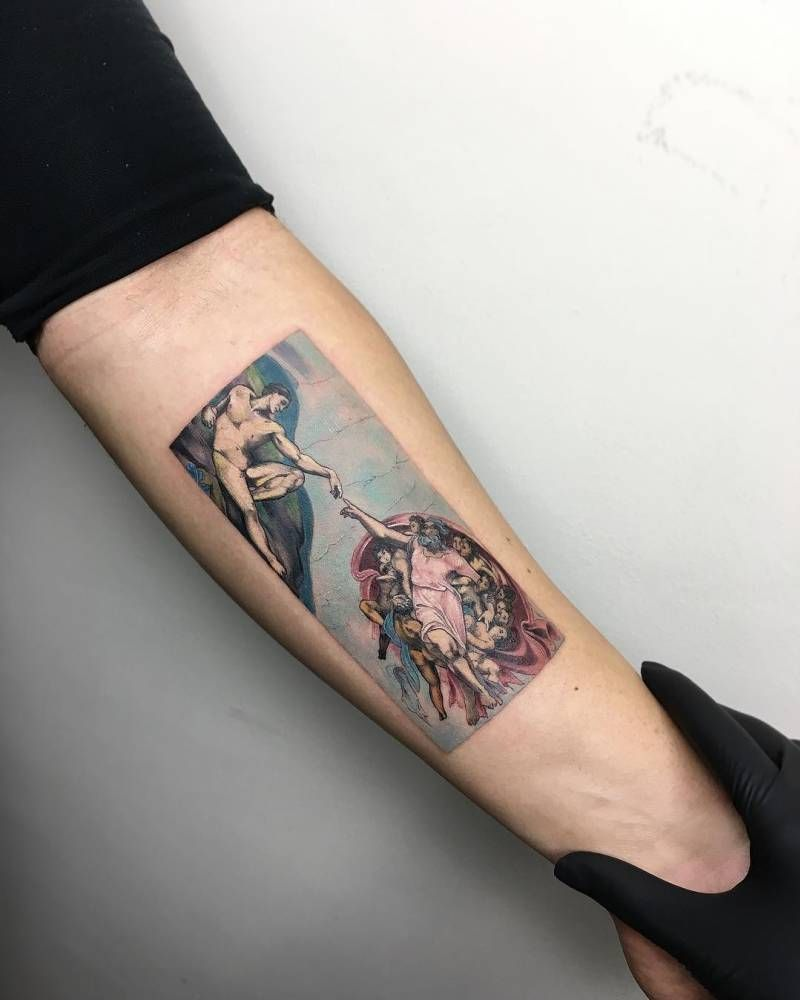 Michelangelous uThe creation of Adamu tattoo on the left inner