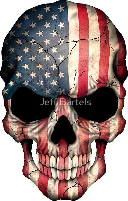 american flag skull sticker by jeff bartels american flag art