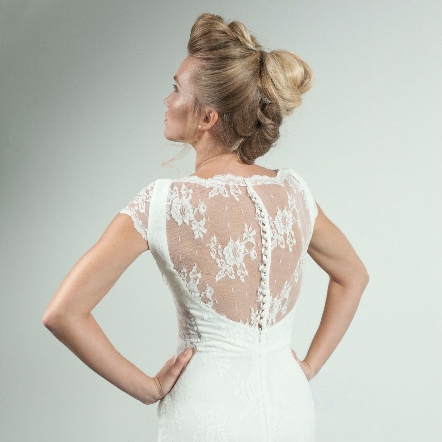 Lace wedding dress with cap sleeves vintage style buttons lace