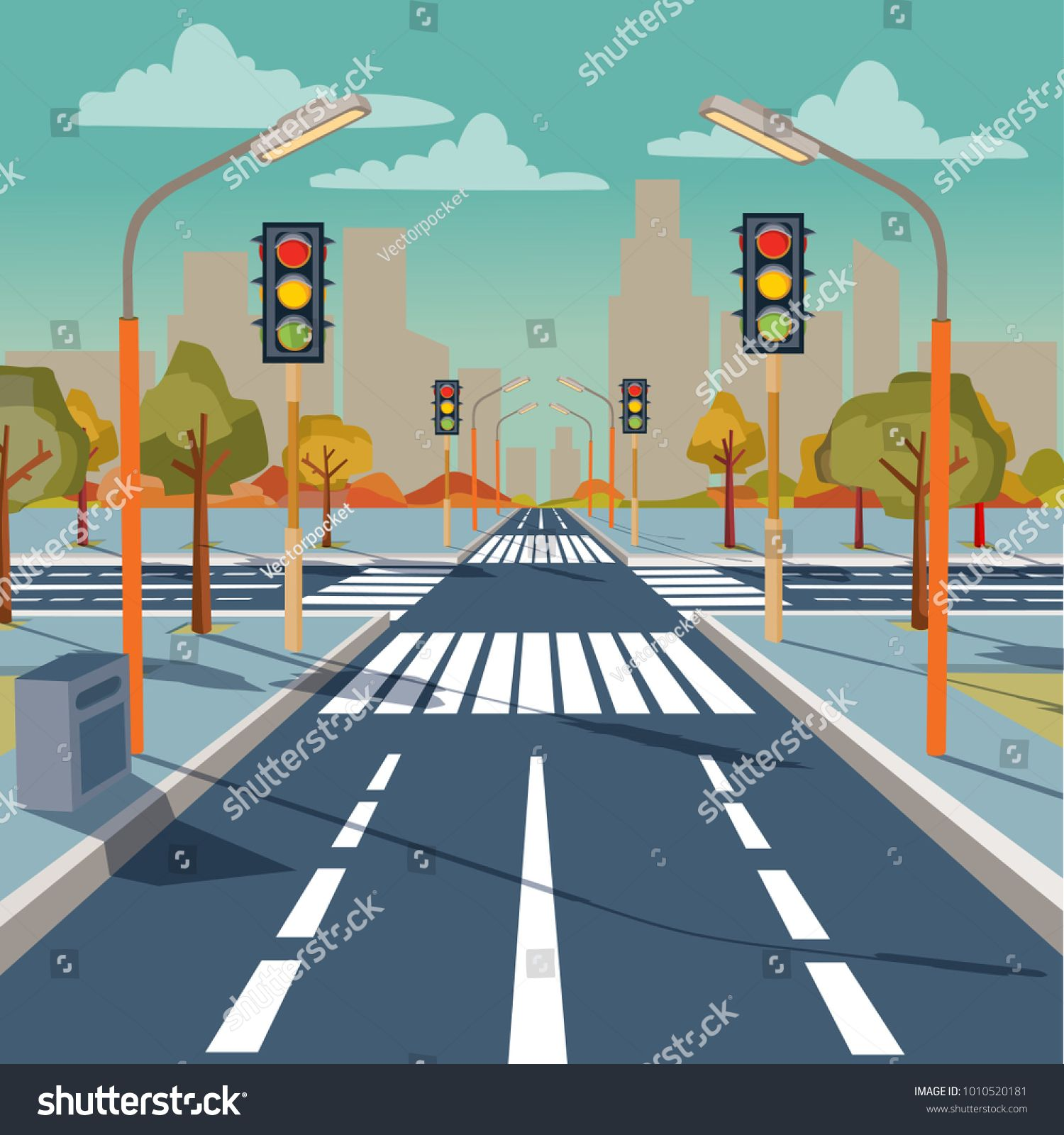 Vector Illustration Of City Crossroad With Traffic Lights Road