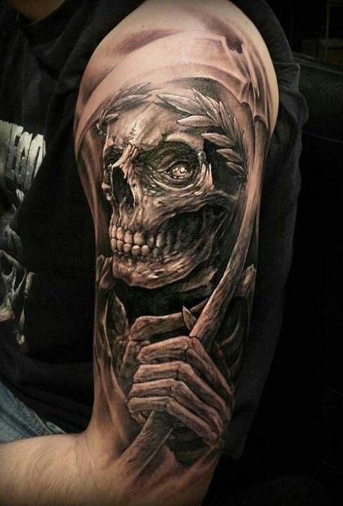 99c6f70fee473 Stunning Arm Skull Tattoo for Men | tattoo | Reaper tattoo, Skull ...