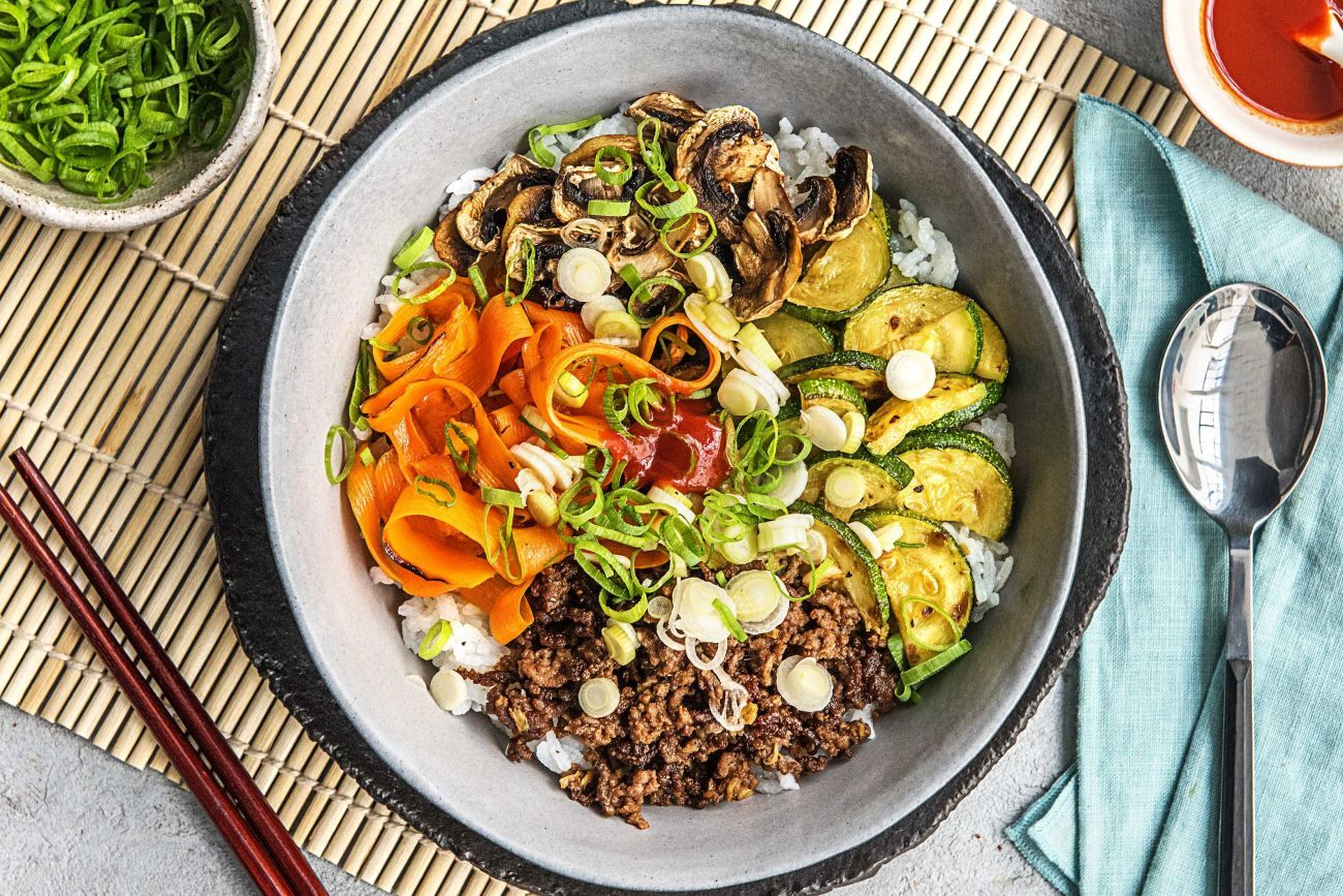 Korean Beef Bibimbap Next Time We Ll Saute All The Vegetables Together Use Beef Strips Of Steak Instead Of G Rice Bowls Recipes Hello Fresh Recipes Recipes