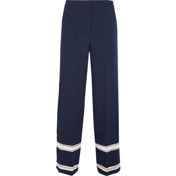 By Malene Birger Woman Metallic Crepe Wide-leg Pants Navy Size S By Malene Birger iBr9iAZOl6