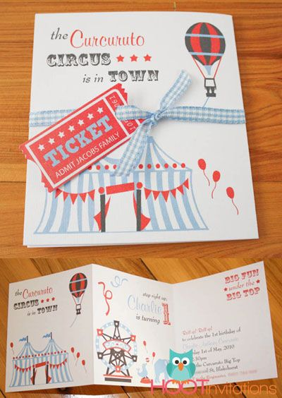 Unique Circus party invitation from wwwhootinvitationsau