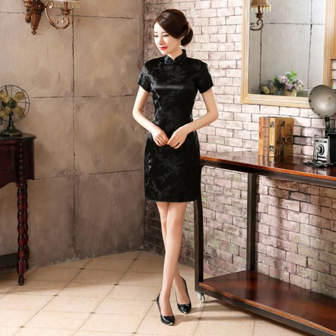 1069600667527 Summer Sexy Black Chinese Women Mini Dress Traditional Silk Satin ...