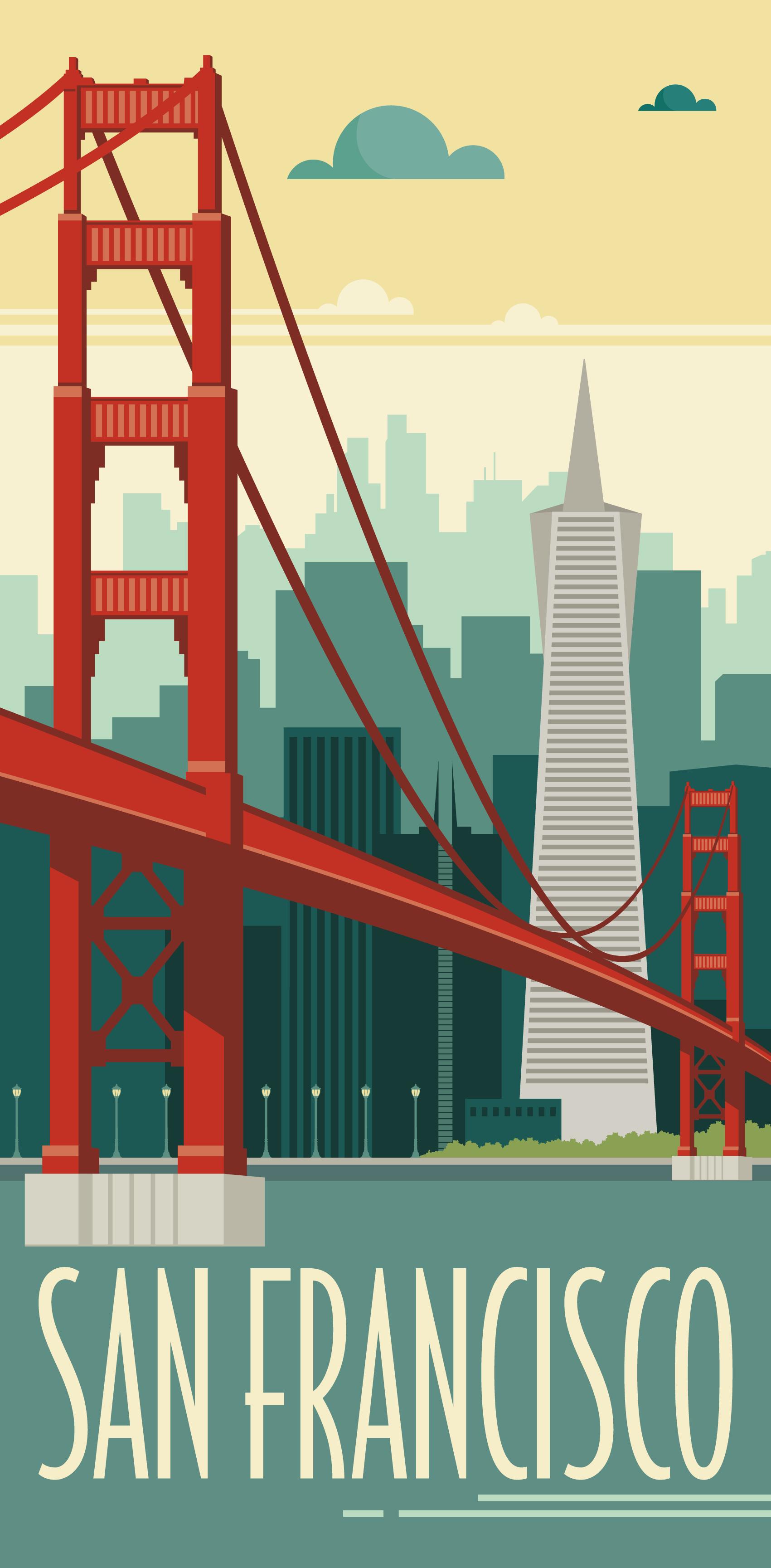 KAKÉMONODÉCO , Illustration La ville de San Francisco revisité en mode  vintage dans un style graphique