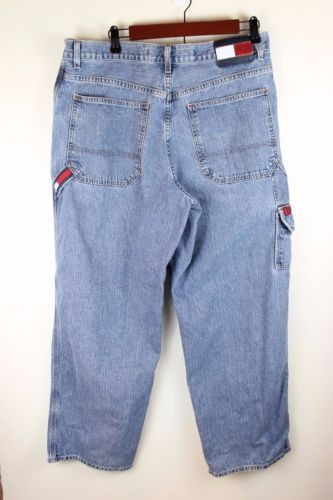 a4910e24 Vintage-90s-Mens-Tommy-Hilfiger-Baggy-Carpenter-Jeans -Hip-Hop-34-x-30-Big-Logo