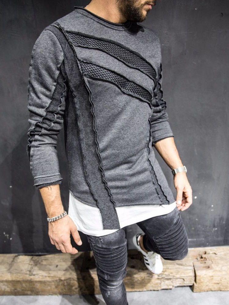 6840a4f4a5 2 Y Men Stylish Asymmetrical Sweater Mesh - Heather Gray Camisetas  Masculinas