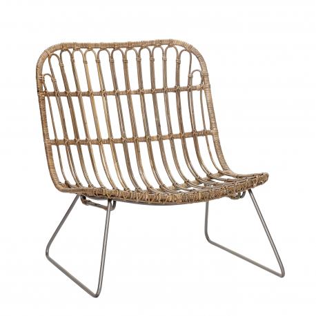 Meubles Design Scandinave Chaise Lounge En Rotin Naturel Et Structure En Metal Noir 50x69xh69cm Design Decorat Chaise Rotin Chaise Chaise Fauteuil