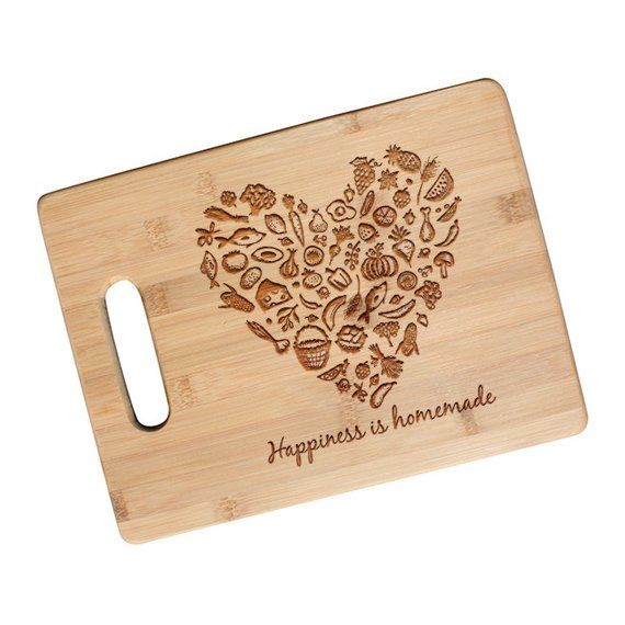 SHIPS NEXT DAY Happiness Is Homemade Engraved Cutting Board Birthday Gift Newlywed Gifts Engage