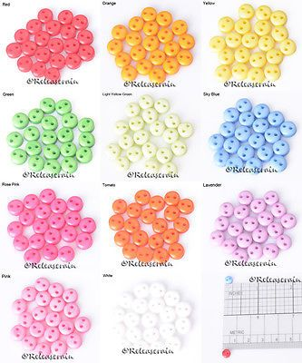 Releaserain 6mm Doll Clothes Sewing Acrylic Round 2-Hole Small Buttons Set of 20