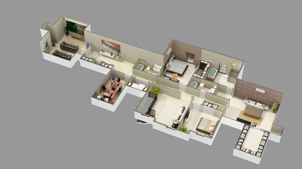 2nd Floor 3d Model Luxury House Plans House Layout Plans House Plans
