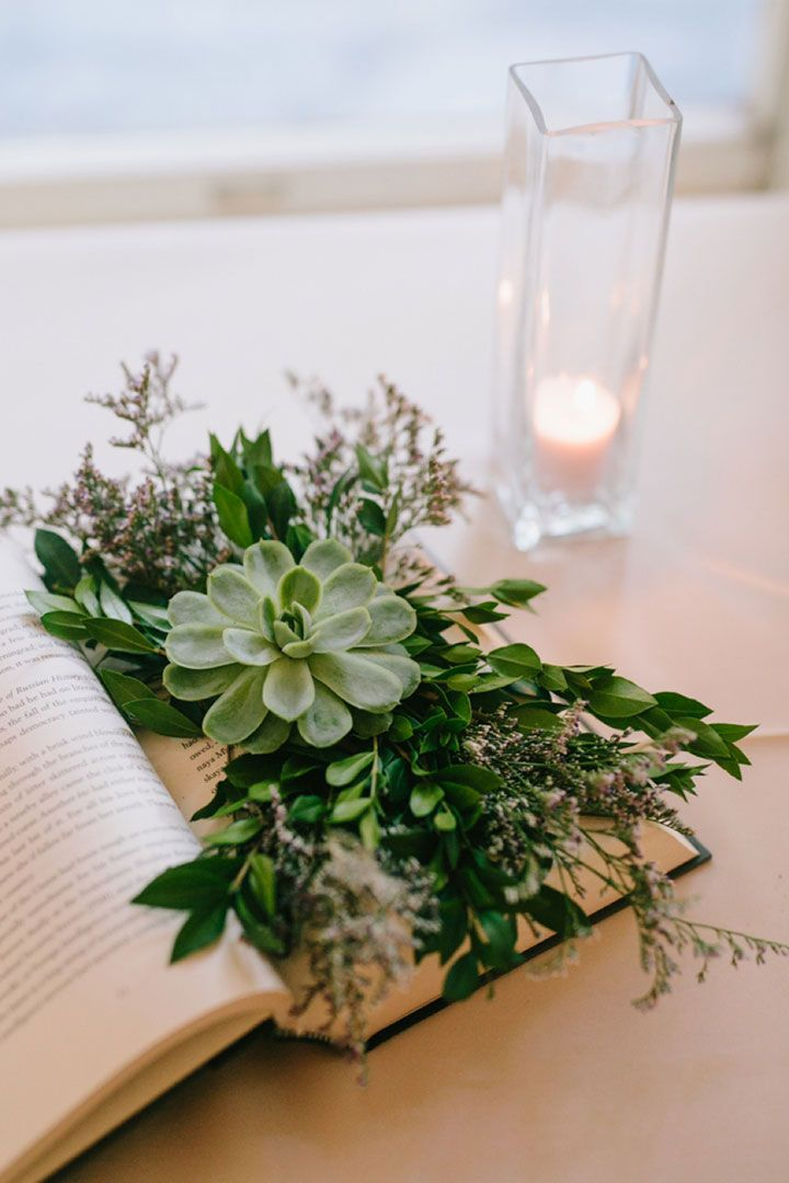 Clever DIY Book Succulent Wedding Centerpieces