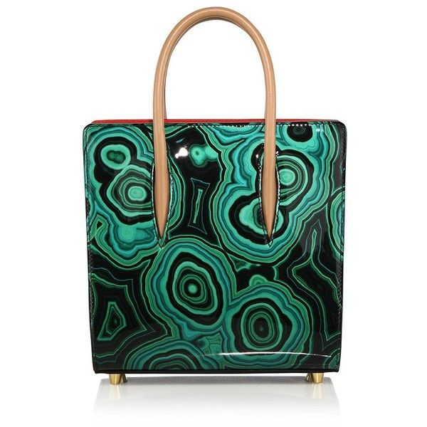 Christian Louboutin Paloma Small Malachite Patent Leather Tote ($2,000) ❤ liked on Polyvore featuring bags, handbags, tote bags, apparel & accessories, green, green handbag, handbags totes, patent tote, structured handbag and structured purse
