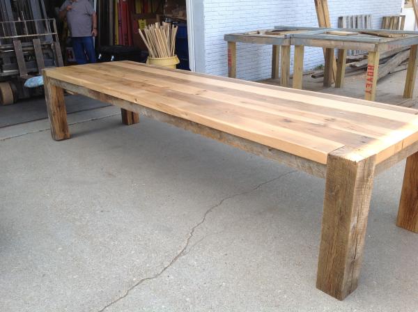 Reclaimed Wood Table Left Side View Big Berkeley Wood Table