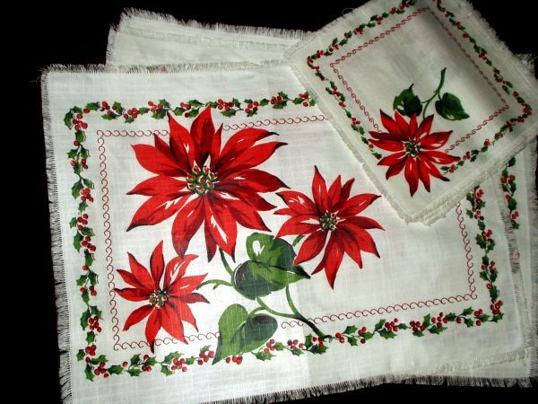 Vintage 1950 1960 Christmas Placemat And Napkin Set Christmas Placemats Vintage Christmas Images Christmas Table Cloth