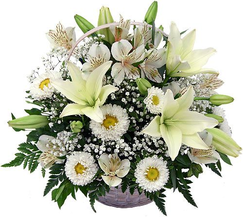 White flower basket of lilies roses orchids same day delivery give a unique gift to your loved ones on their special day what they really deserve send them a premium white flowers basket with real flowers mightylinksfo