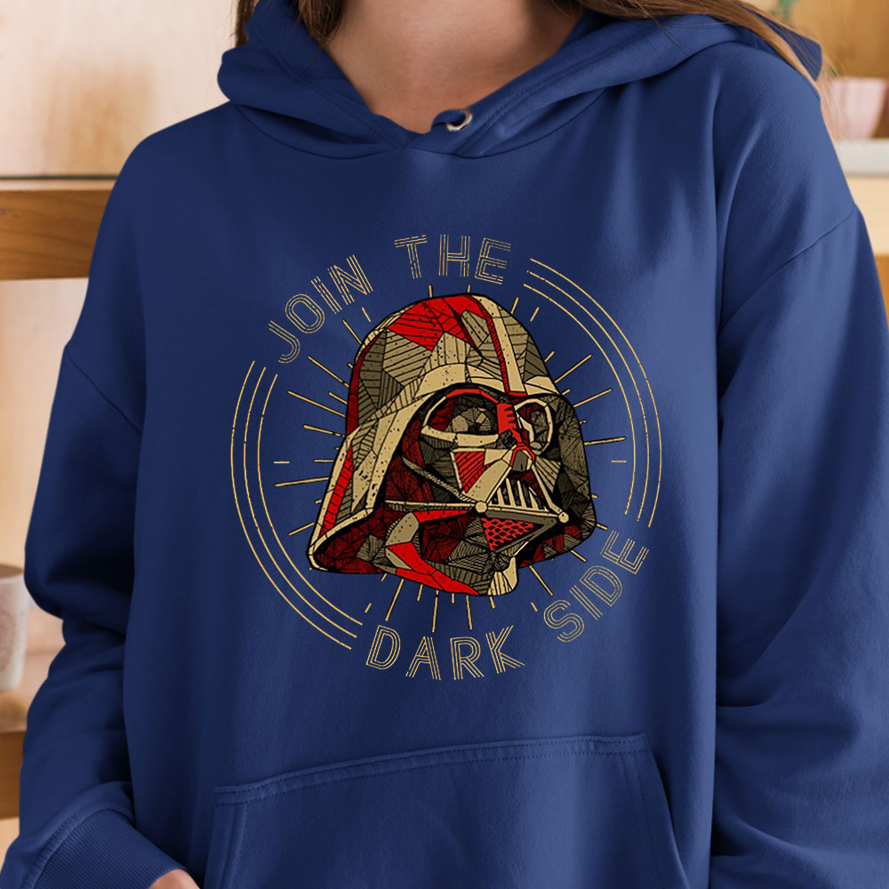 Join The Dark Side Darth Vader Retro Vintage Star Wars Inspired Unisex Hoodie Navy Jpg [ 1000 x 1000 Pixel ]