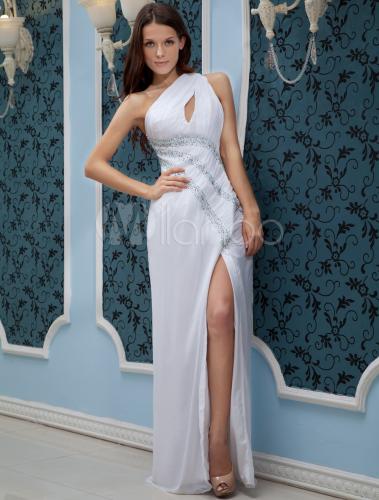 Glamour White One-Shoulder Side Splitting Chiffon Prom Dress - Milanoo.com